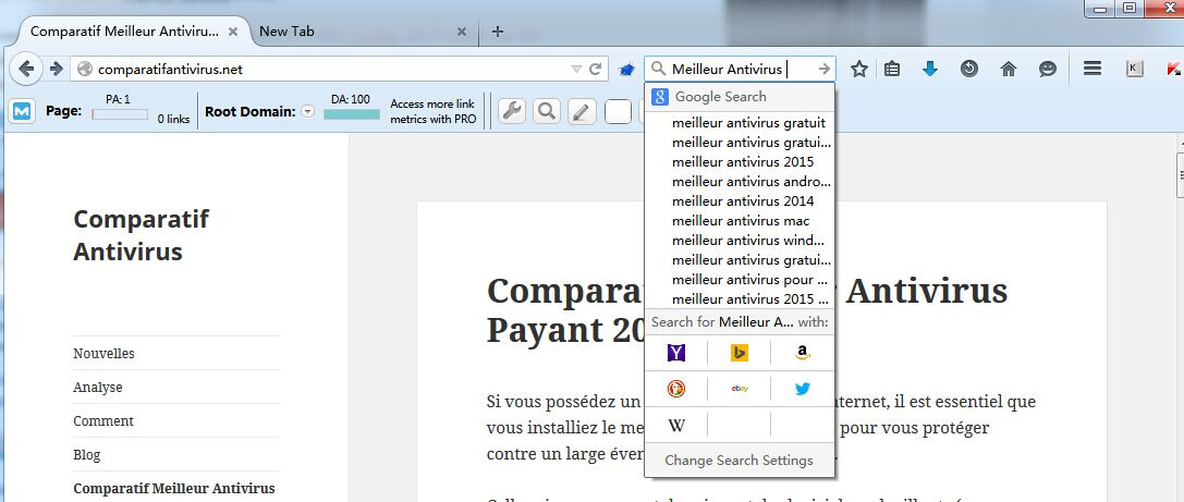 barre de recherche dans Interface de Mozilla Firefox