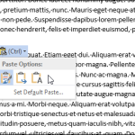 Comment se débarrasser de la boîte Options de collage dans Word 2013