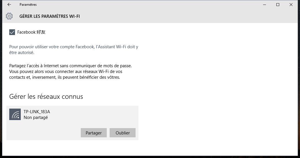 Oubliez les profils de réseau sans fil dans Windows 10