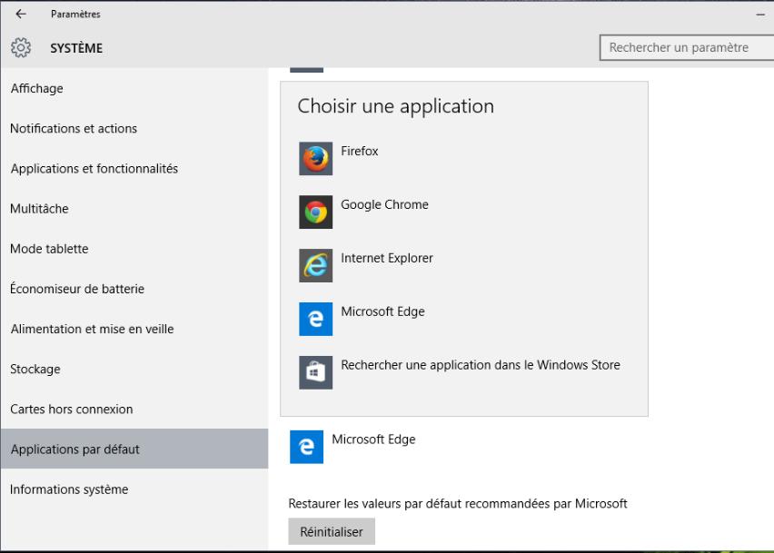 Définir Firefox/Chrome comme le navigateur par défau