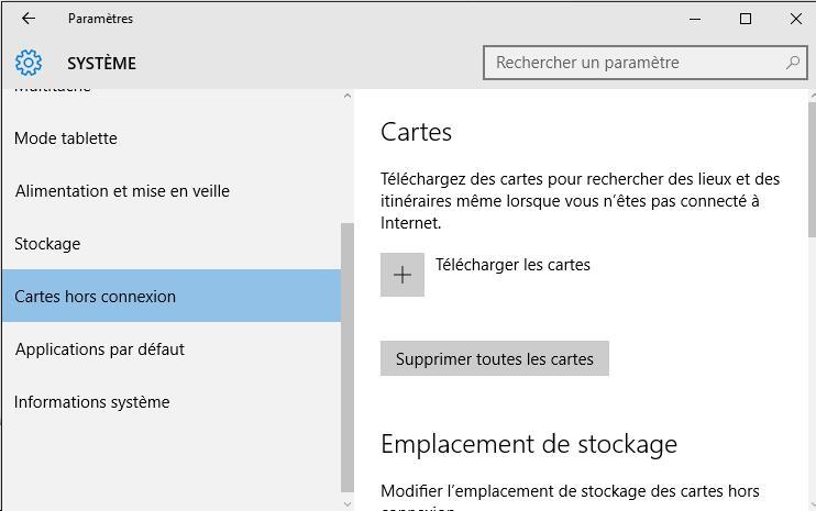 Cartes hors connexion dans Windows 10