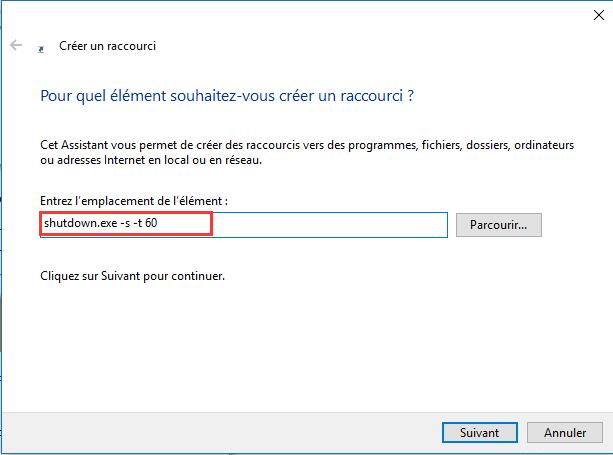 Arrêter Windows 10