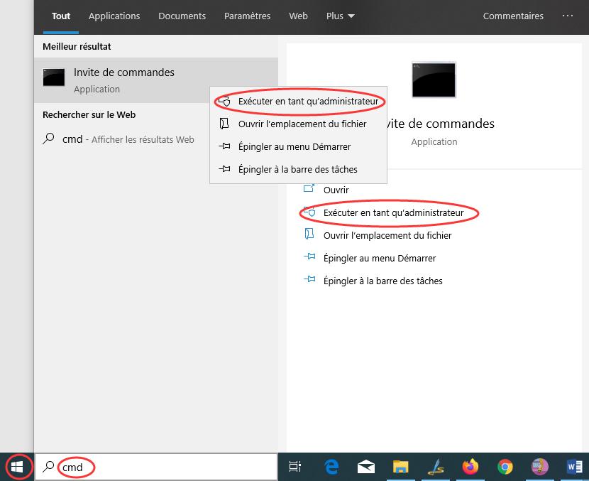 Invite de commandes sur Windows